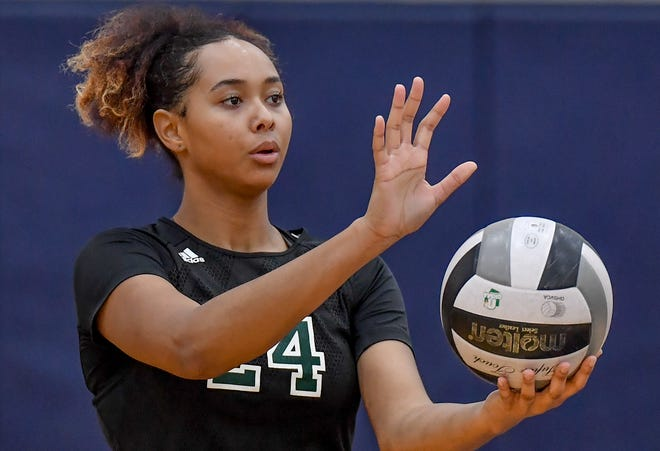 Nordonia middle hitter Aleana Mason looks to serve the ball during a game earlier this season.