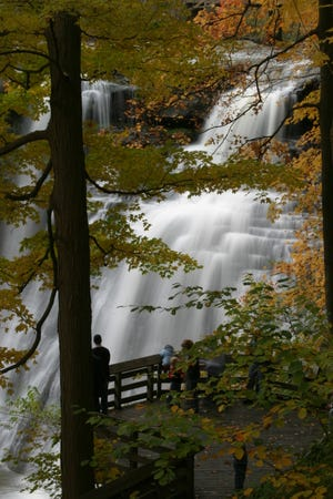 Fall color changes at Brandywine Falls.
