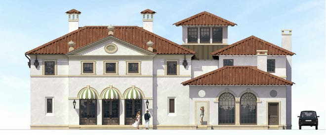 A rendering shows the streetside facade of a house designed, but not yet approved, for 756 Hi Mount Road. [Rendering courtesy Town of Palm Beach]