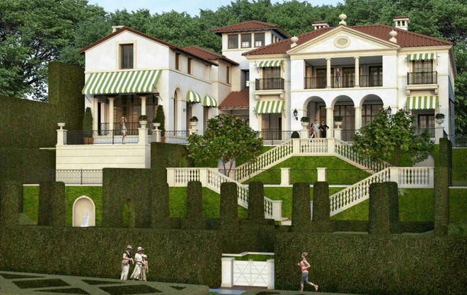 At its most recent meeting, the Architectural Commission questioned the scale of this Italian-style house designed for an extraordinarily high lakeside lot facing the Lake Trail at 756 Hi Mount Road. [Rendering courtesy Town of Palm Beach]