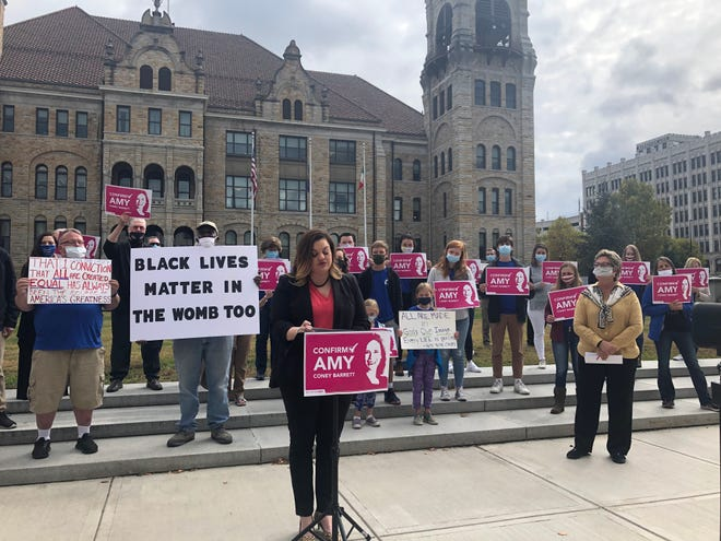 "Abby Johnson, former Planned Parenthood clinic director and current CEO of And Then There Were None, speaks Monday, Oct. 5, 2020 at a ""#ConfirmAmy"" event in Scranton."