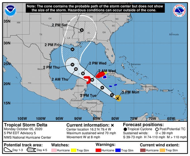 Tropical Storm Delta now forecast to become major hurricane.