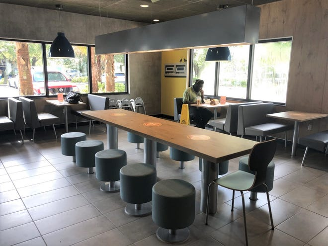 The McDonald's restaurant in the Promenade Shopping Plaza in Palm Beach Gardens reopened its indoor dining area last month following a $450,000 renovation.