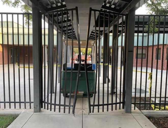 The San Joaquin County Sheriff's Office believes four teenagers were responsible for taking this golf cart at Wicklund Elementary School in Mountain House and using it to cause $1,800 in damage to the campus. The vandalism was discovered Sept. 27 and two juveniles have now been arrested on suspicion of felony charges.