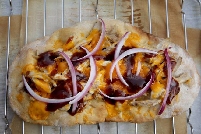 Chicken, Cheddar and Barbecue Sauce Flatbread.