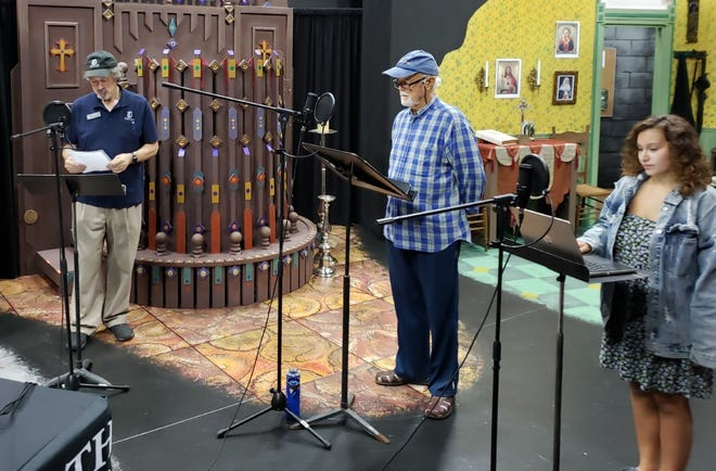"From left, Don Walker, Bob Fahey and Kaity Cairo create an audio recording of Marvin Albert's ""Final Curtain"" for Theatre Odyssey's 15th annual 10-Minute Play Festival."