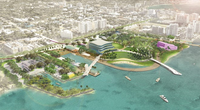 A rendering of what the new Bay Park might look like with a new performing arts center.