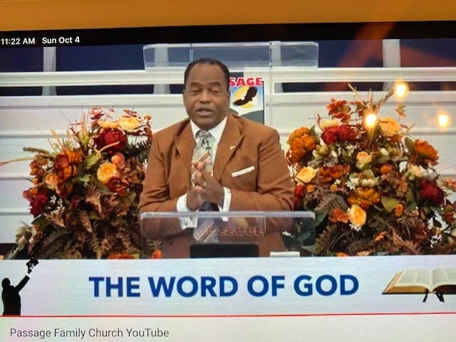 The Rev. Dr. George B. Dix Jr., co-founder and senior pastor of PASSAGE Family Church in northeast Gainesville, delivers the Sunday morning worship service sermon to parishioners via YouTube.