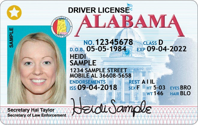 This is a sample to show what Alabama's STAR ID looks like.