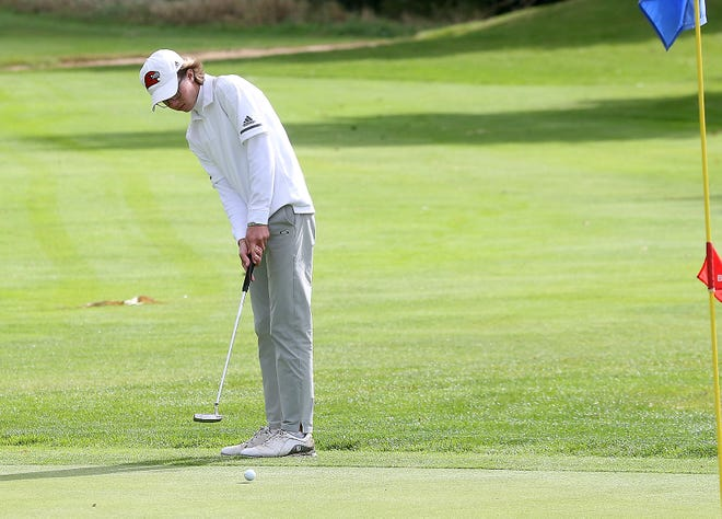 Hiland's Brookston Hummel putts onto the 19th hole at River Greens Golf Course during the Division III District Golf Tournament Monday.