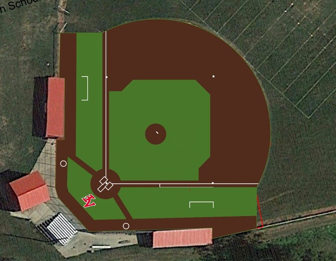 The new infield at the Indian Valley baseball field will have an artificial turf surface.