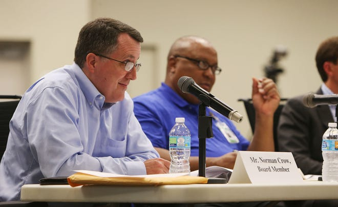 Former board of education member Norman Crow, at left, seen here in 2016 asking questions during open superintendent interview sessions  at the Tuscaloosa Career and Technology Academy, has announced that he intends to seek the District 3 seat on the Tuscaloosa City Council. [Staff file photo/Erin Nelson]
