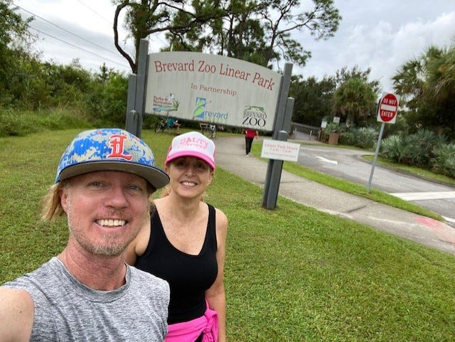 Cocoa Beach Health and Fitness owner Jim McCormick, and Cocoa Beach resident and avid hiker Tracy Abbott traversed the trail at the Brevard Zoo Linear Park on a recent Sunday morning.