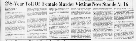 On April 10, 1978, The Enquirer wrote a story about the many murders of girls and women between 1976 and 1978. Among them was the strangulation death of Cheryl Thompson, whose death is still being investigated by Loveland police 42 years later.