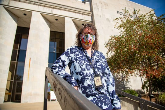 Polk County Treasurer Mary Maloney stands for a photo outside the Polk County administration building Monday, Oct. 5, 2020.