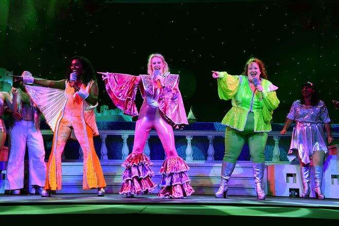 "Renee Reid, Kate Turner and Shannon Connolly in a scene from Broadway Palm's ""Mamma Mia!"""