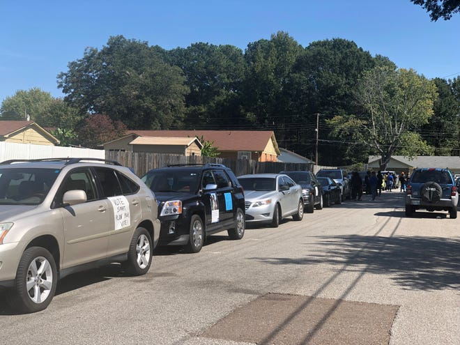A caravan with more than two dozen vehicles, and even more people, canvassed Jackson and Denmark neighborhoods to encourage its residents to vote on Saturday, Oct. 3, 2020.