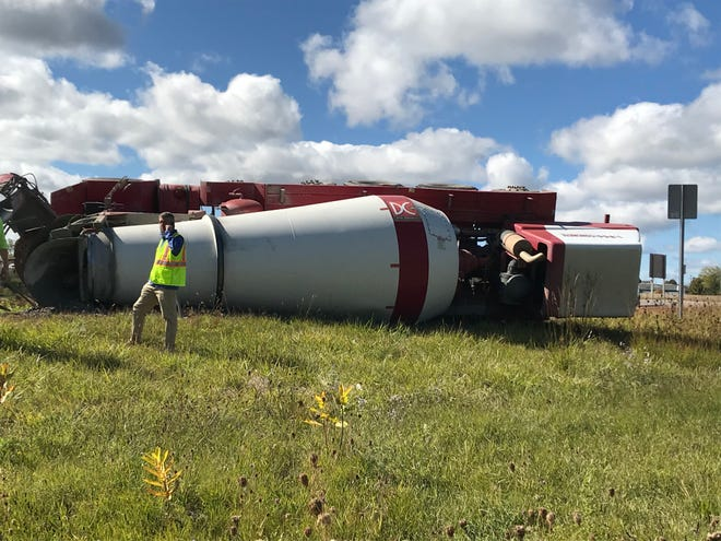 A concrete truck overturned on the exit ramp from U.S. 23 to M-36 in Whitmore Lake Monday Oct. 5, 2020.