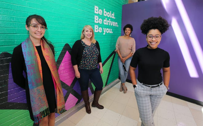 Abigail Boone, left, Katherine Rampley, Shashray McCormack and Ashley Hancox are educators at the new Grace James Academy of Excellence, a Louisville all-girls magnet school with an Afrocentric curriculum. Oct. 5, 2020