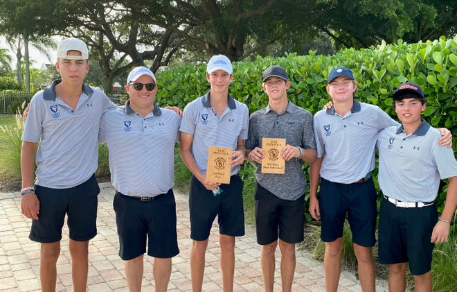 The Community School of Naples boys golf team edged Bishop Verot to win the Private 8 conference championship on Monday, Oct. 5, 2020 at Stoneybrook Golf Club in Estero.