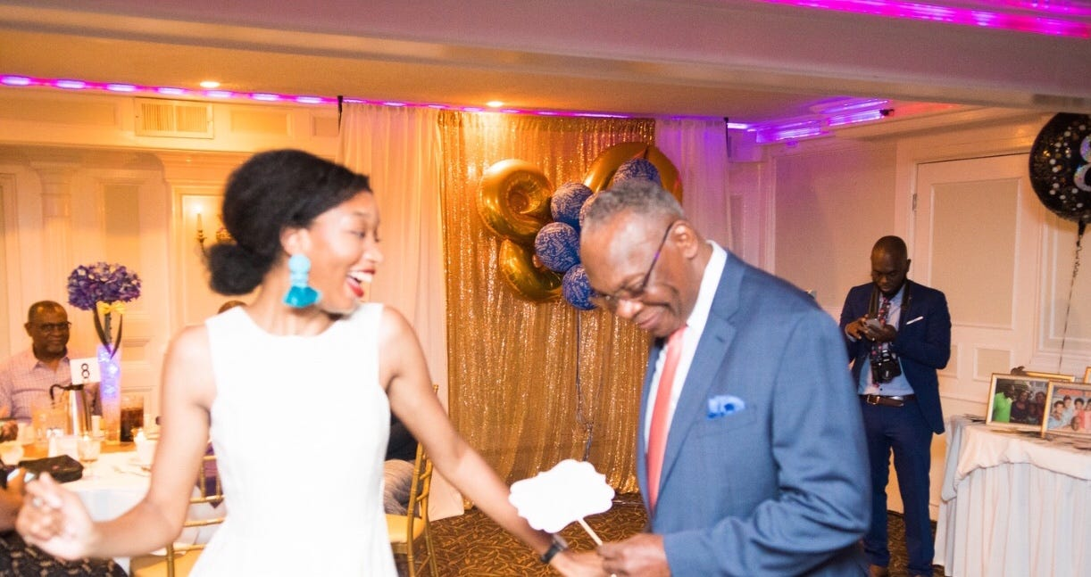 Shaylah Brown dancing with her grandfather at his 80th birthday celebration in 2018.