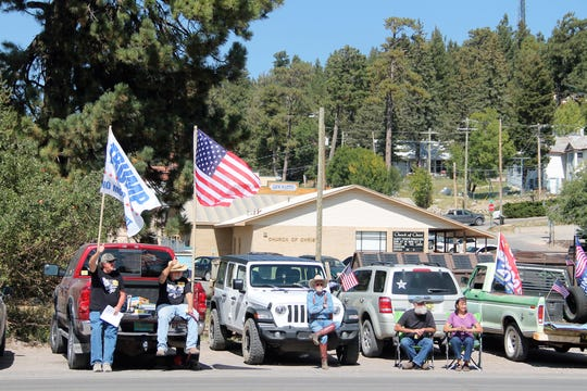 A few of the protesters at the Freedom NM Rally.  The Freedom NM Rally in Cloudcroft was on October 3, 2020.