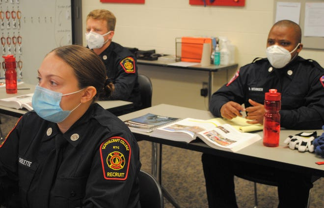 Students in class at Schoolcraft College's fire program.