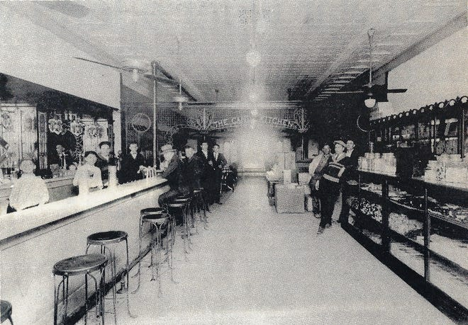 Renamed Candy Kitchen after it moved to the Jacobs Building on Landry Street in the 1920's.