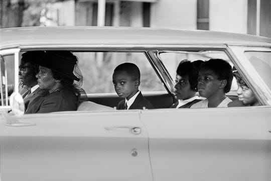 Ben Chaney, center, in the car on the way to his brother's funeral in August 1964 in Mississippi, seen in 'Driving While Black.'