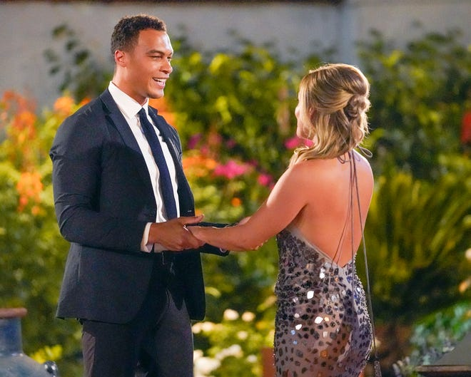 "Clare Crawley greets Dale in the premiere episode of ""The Bachelorette"" Season 16."