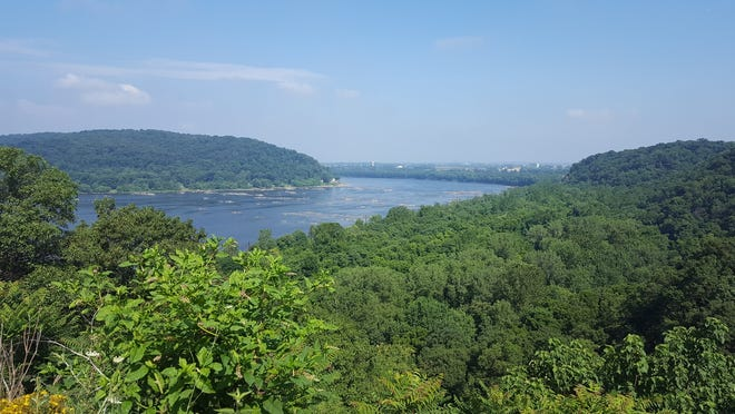 The Susquehanna River as seen from the Breezyview Overlook north of Columbia.  Accomac Point is on the left side.