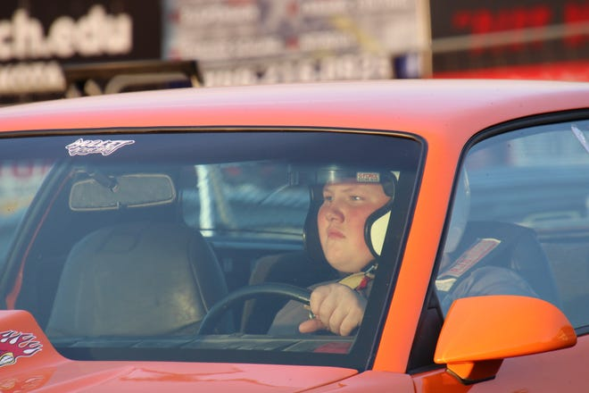 Jake Dearduff sits in his dragster prior to a race at Thunder Valley Dragways in Marion earlier this year.