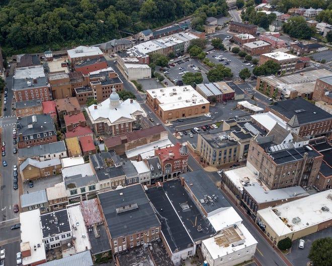 Aerial view of downtown Staunton, Virginia.