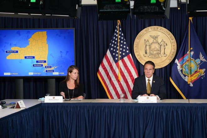 Gov. Andrew M. Cuomo holds a press briefing Monday, Oct. 5, 2020 to discuss COVID hot spots in parts of New York.