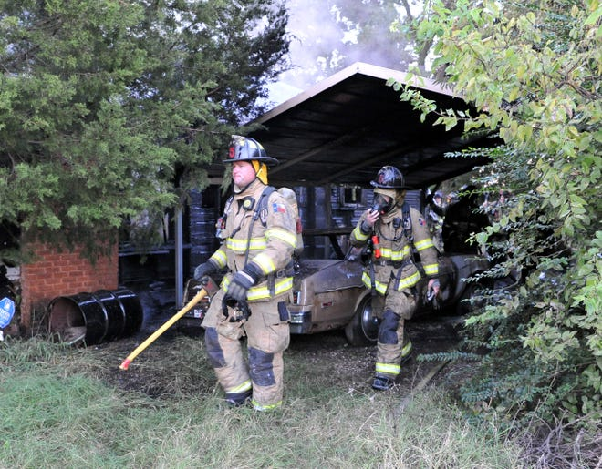 Wichita Falls firefighters worked to control a house fire Monday morning on Barwise Street.