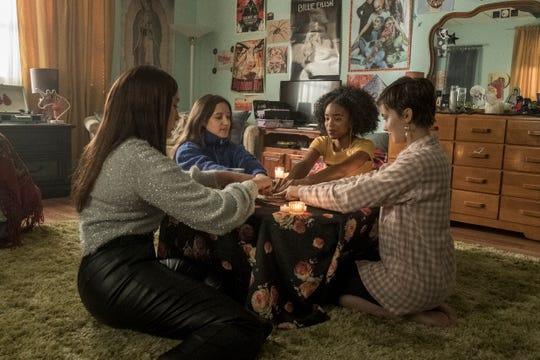 "Teen girls Lourdes (Zoey Luna, far left), Frankie (Gideon Adlon)  Tabby (Lovie Simone) and Lily (Cailee Spaeny) get witchy in ""The Craft: Legacy."""