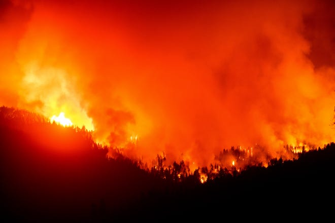 The August Complex Fire burns near Lake Pillsbury in the Mendocino National Forest of California in September 2020.