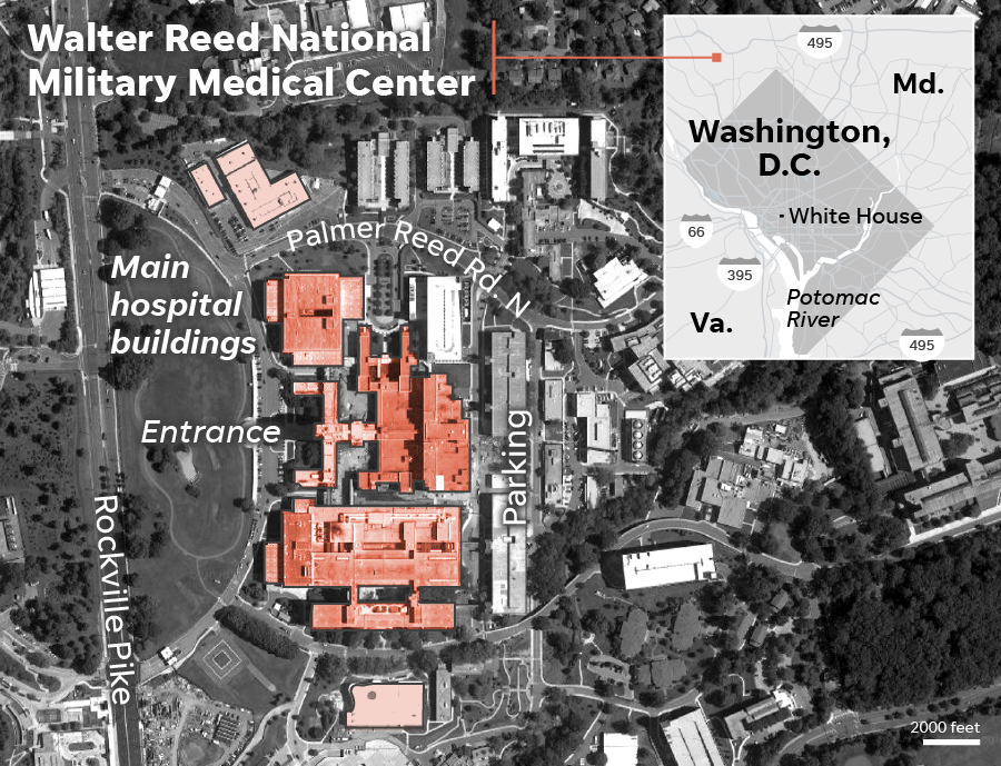 Aerial view of Walter Reed National Military Medical Center