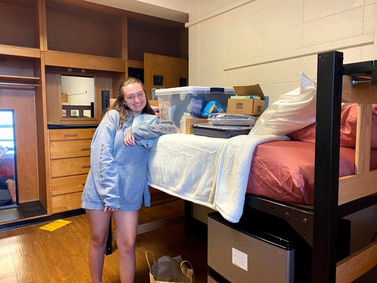 Brianna Hayes after moving into her original dorm in Chapel Hill, North Carolina, in August 2020.