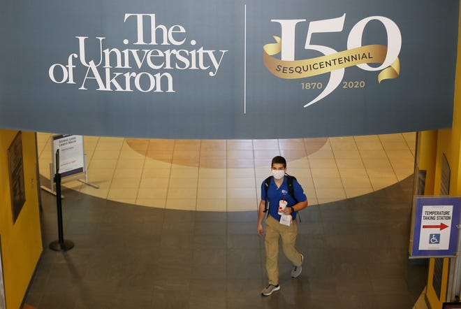 A student walks under a painted balcony marking the 150th anniversary of the University of Akron in the Student Union on Tuesday.