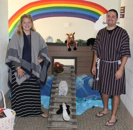 The Runner Family will portray Mr. and Mrs. Noah and family during First Christian Church's upcoming Halloween-themed event.