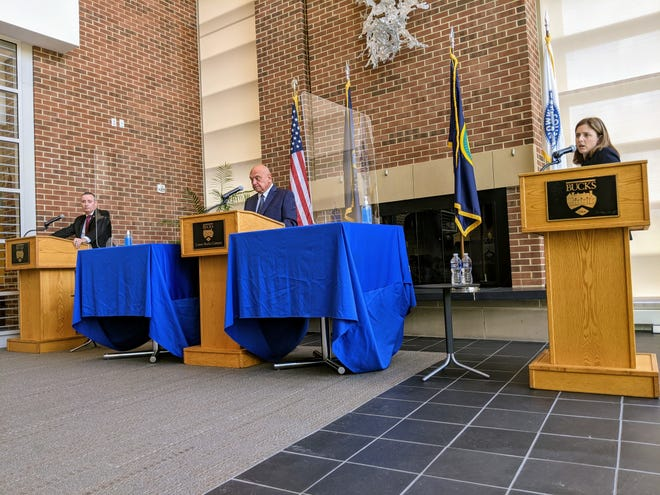 Republican incumbent Brian Fitzpatrick squares off against Democratic challenger Christina Finello during a 1st Congressional District debate at the Bucks County Community College's Bristol campus on Oct. 6. The debate was moderated by professor Bill Pezza.