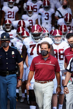 Coach Nick Saban has guided Alabama into the College Football Playoff five times in the format's first six seasons. [L.G. Patterson/Associated Press]