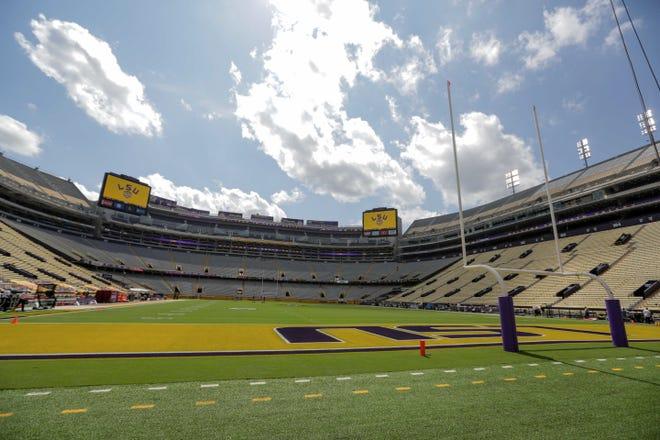 A general view of the field prior to kickoff between LSU and Mississippi State on Sept. 26 at Tiger Stadium.