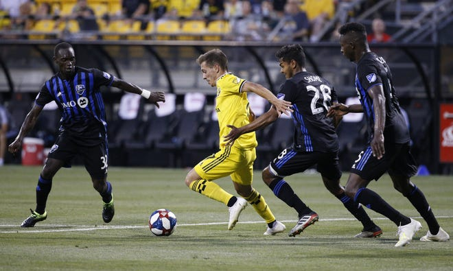 Crew forward Pedro Santos, center, has been effective on offense when Lucas Zelarayan was out of the lineup with injuries this season. [Joshua A. Bickel/Dispatch]