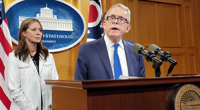 Gov. Mike DeWine and then-Health DIrector Dr. Amy Acton announced Ohio's first coronavirus cases on March 9.