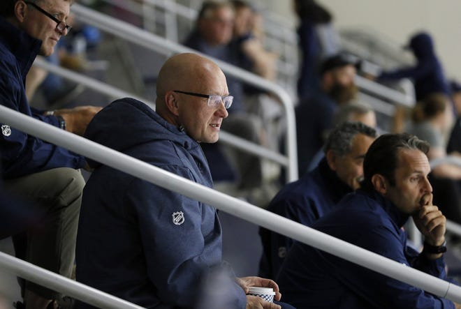 """Known as a """"super scout"""" prior to becoming a general manager, Jarmo Kekalainen had already taken seven swings at drafting for the Blue Jackets heading into the 2020 draft Tuesday night. [Adam Cairns/Dispatch]"""