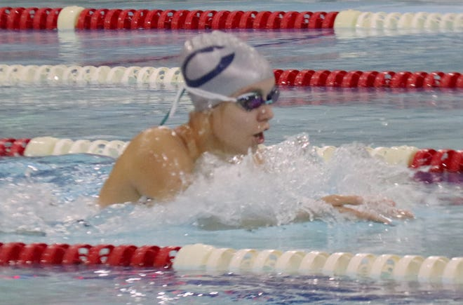 Madison Hoiland swims in a meet against Perham/New York Mills on Oct. 5. Hoiland finished sixth in the 100-meter breaststroke and seventh in the 50-meter freestyle at the Section 8A Championships Saturday.
