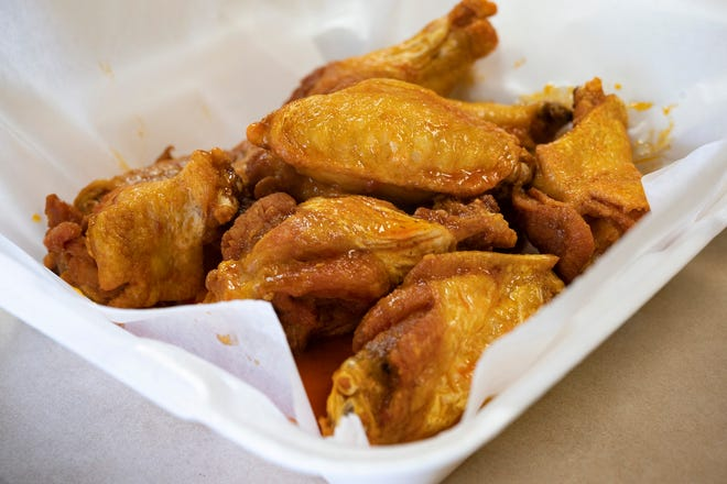 Wings come in five pieces for $5.95, 10 pieces for $9.95, 15 pieces for $13.95, 20 pieces for $17.95, 30 pieces for $25.95, 40 pieces for $33.95 and 50 pieces for $41.95.