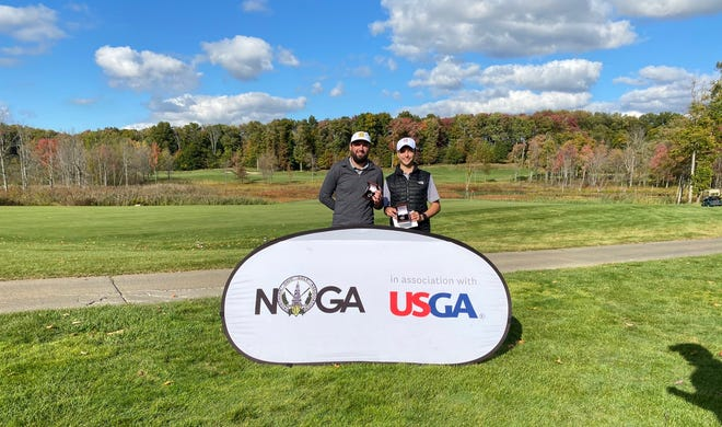 John Angelo (left) and Marcus Carano (right) won the local qualifier and are heading to the U.S. Amateur Four-Ball Championships at Chambers Bay in May.